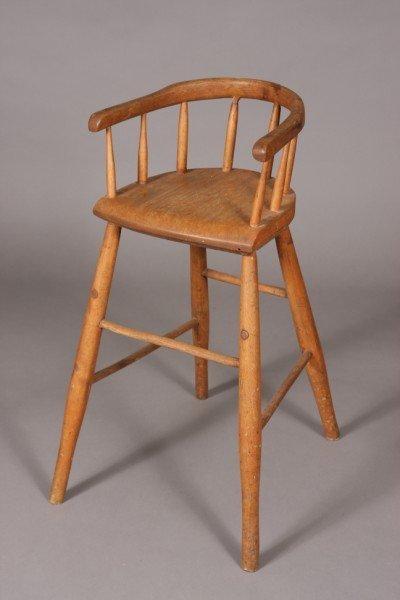10: Primitive Birch Child's High Chair, American, 19th