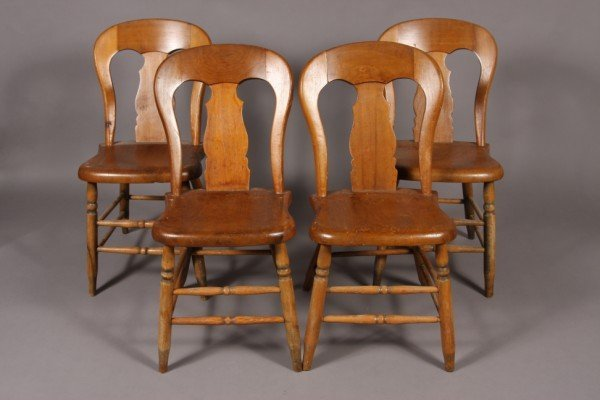 12: Four Country Poplar Balloon Back Side Chairs, Ameri