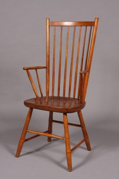 14: Stickley Birch Spindle Back Arm Chair, American