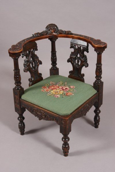 17: Georgian Style Carved Mahogany Corner Chair, Englis