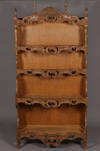 21: Provincial Style Carved Oak Shelf, French, 20th Cen