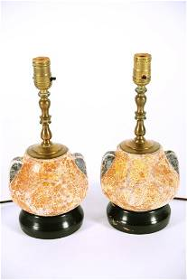 Pair of Chinese Crackle Vase Lamps