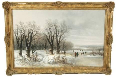 Georg Schlugg (German), Oil on Canvas Winter Scene