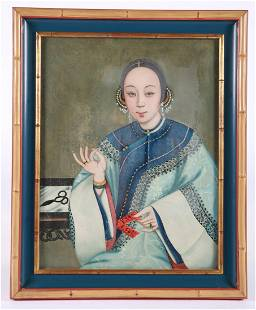 Chinese Oil on Canvas Female Portrait