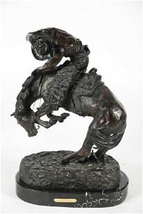 "After Remington, ""Rattlesnake"" Bronze Sculpture"