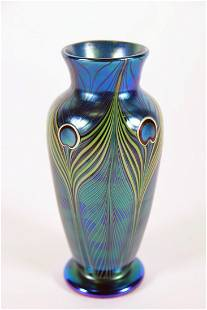 Orient and Flume, Peacock Feather Glass Vase