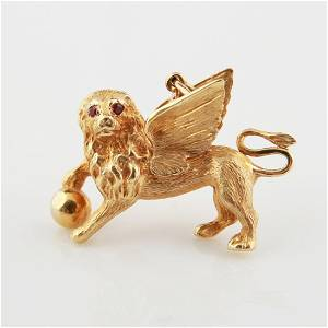 18kt Winged Lion Charm
