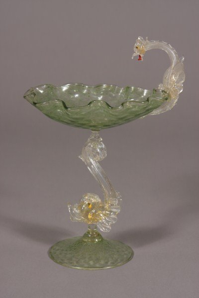 4: Venetian Glass Footed Bowl, Italian, Mid-20th Centur