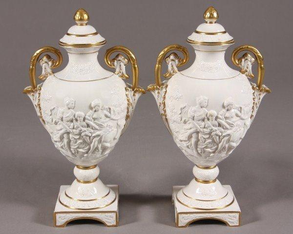 11: Pair Faience Urns, Italian, 20th C. Decorated with