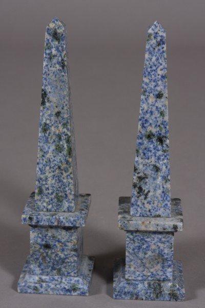 32: Pair Blue and Grey Mottled Obelisks, Continental, 2