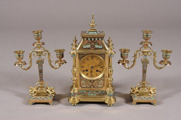 42: Second Empire Gilt Bronze & Champleve Enamel Clock