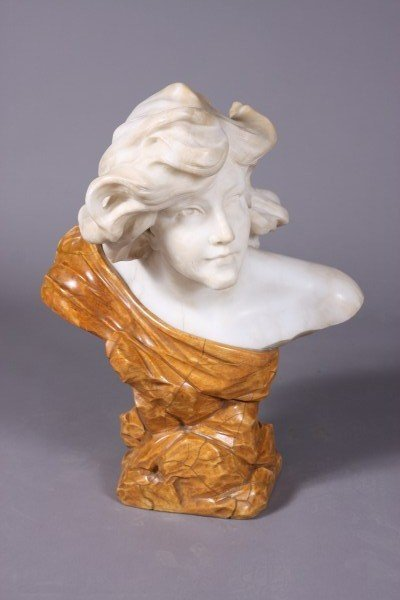 50: D. Zoi, Italian, 19th C. Bust of a Maiden with Flow