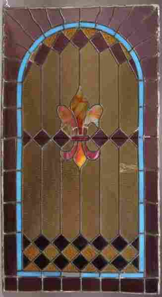 Victorian Leaded & Stained Glass Panel, American,