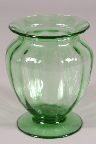 4: Green Blown Glass Vase, Possibly Steuben, American,
