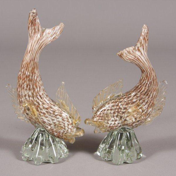 5: Pair Murano Blown Glass Fish, Italian, 20th Century,