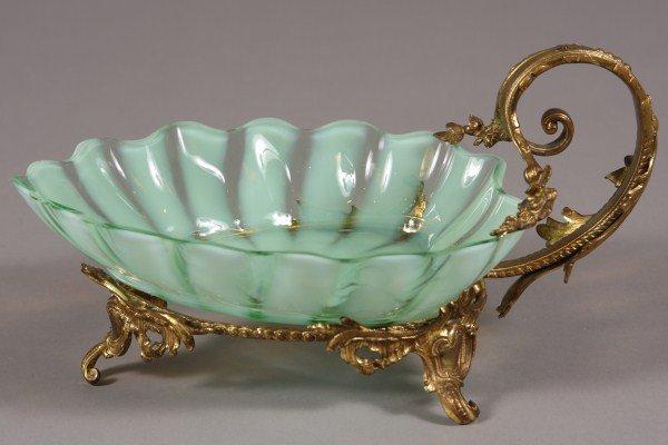6: Blown Glass & Gilt Brass Leaf Form Dish, American or