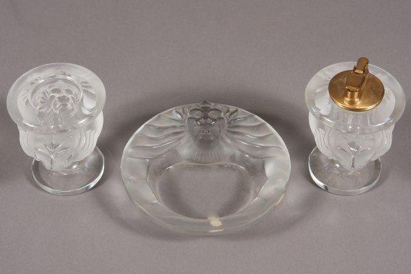 10: Lalique Tete de Lion Crystal Smoking Set, French, 2