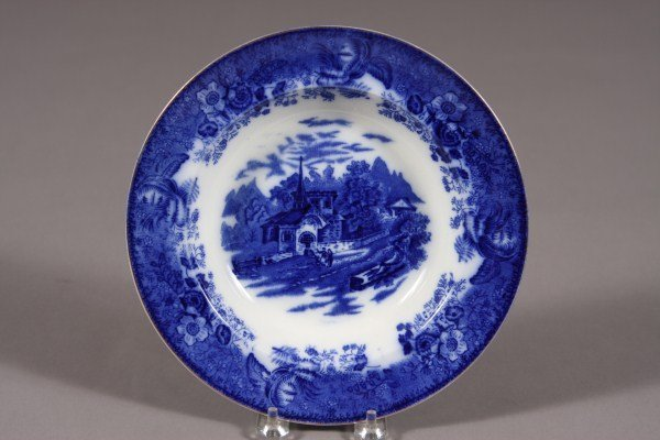12: Flow Blue Rimmed Soup Plate, English, Late 19th C