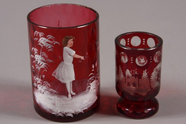 13: Enamel Decorated Cranberry Glass Beaker, Possibly M