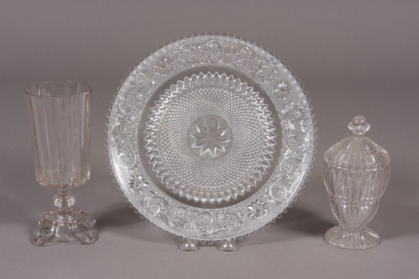 18: Group of Molded Glass, Including Ovoid Covered Box,