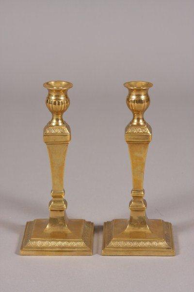20: Pair Brass Candlesticks, Continental, 20th Century