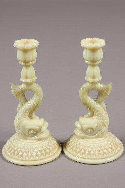 21: Pair Custard Glass Molded Dolphin Candlesticks, Ame