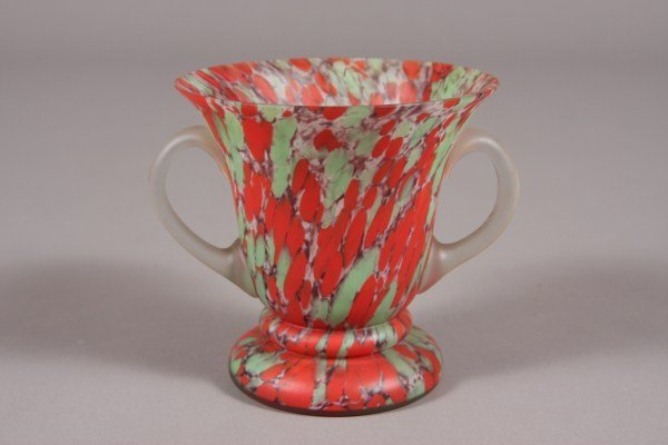 23: Art Glass Vase, Continental, 20th Century, Red & Gr