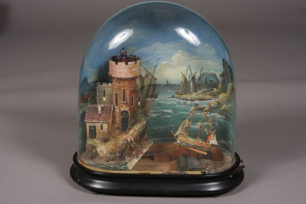 68: Automaton, French, Late 19th Century, In Domed Glas