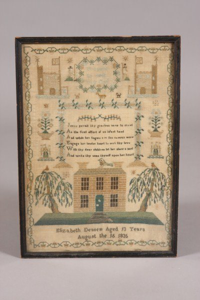 109: Needlework Sampler, English, 1836, In Cross Stitch