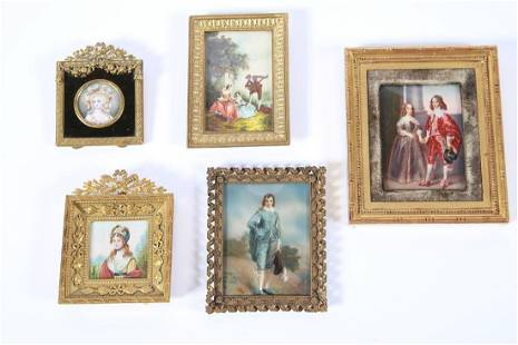 Five Metal Framed Miniature Paintings