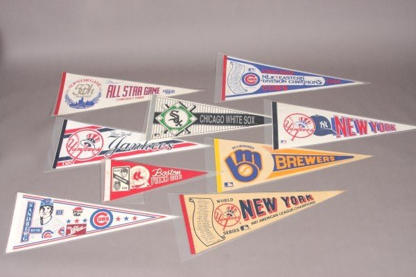 16: 43 Baseball Pennants From 1950's & 1960's to Presen