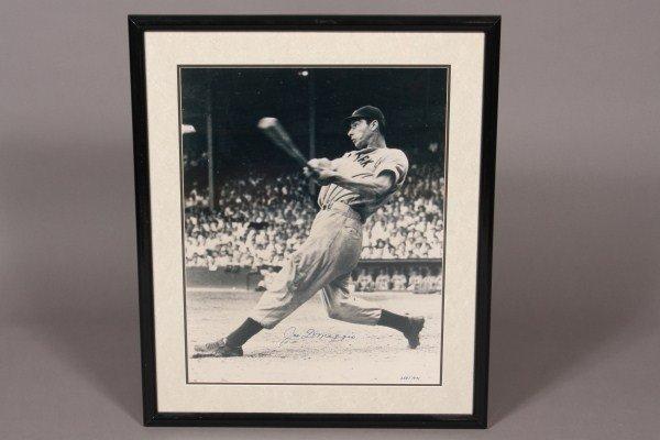 80: Joe DiMaggio Autographed 16 x 24 Black & White Fram