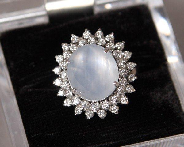 2: Gray Star Sapphire Ring., White Metal
