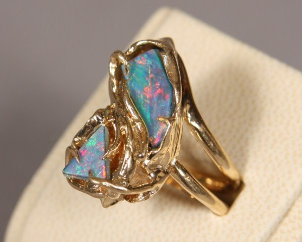 3: 14K Yellow Gold Ring With Two Black Opal Dou