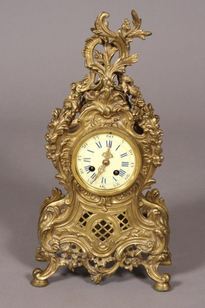 10: Louis XV Style Brass Bracket Clock, French, 20th Ce