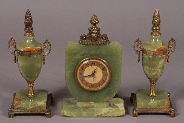 11: Green Alabaster & Brass Mounted Clock Garniture