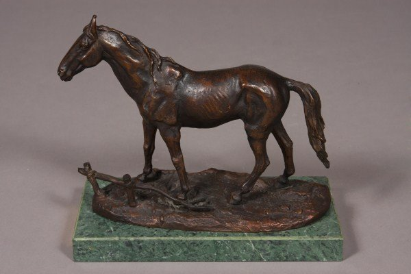 19: Paul-Edouard Delabrierre, Bronze Statue of a Horse