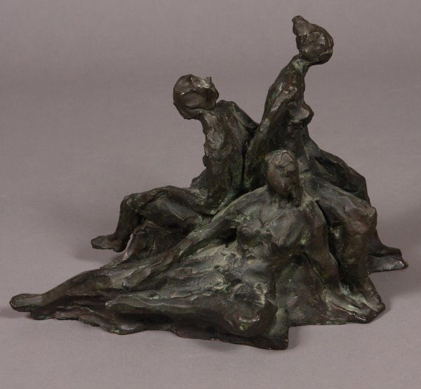24: Bronze Sculpture, Three Figures Seated, Possibly Co