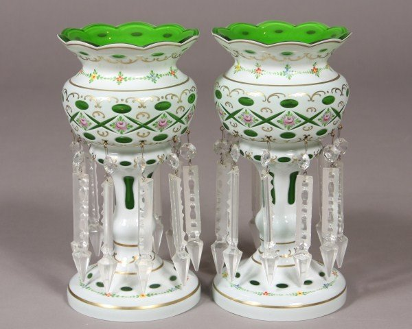 196: Pair Green White Cased Glass Lusters, Continental,