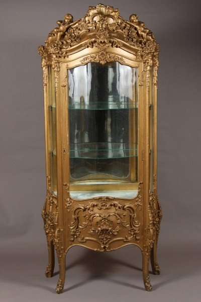2: Louis XV Style Gilt Wood Vitrine, French, Early 20th