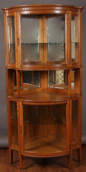 3: Victorian Oak Corner Cabinet, American, Early 20th C