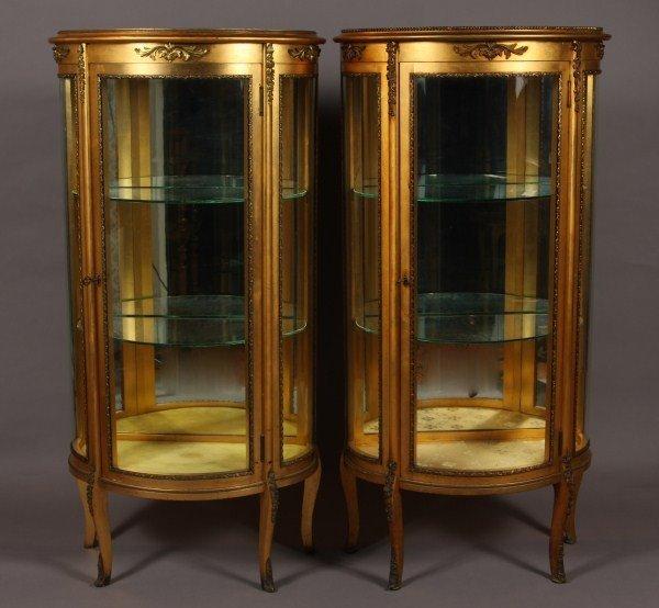 4: Pair Louis XV Style Gilt Demi-Lune Vitrines, French,