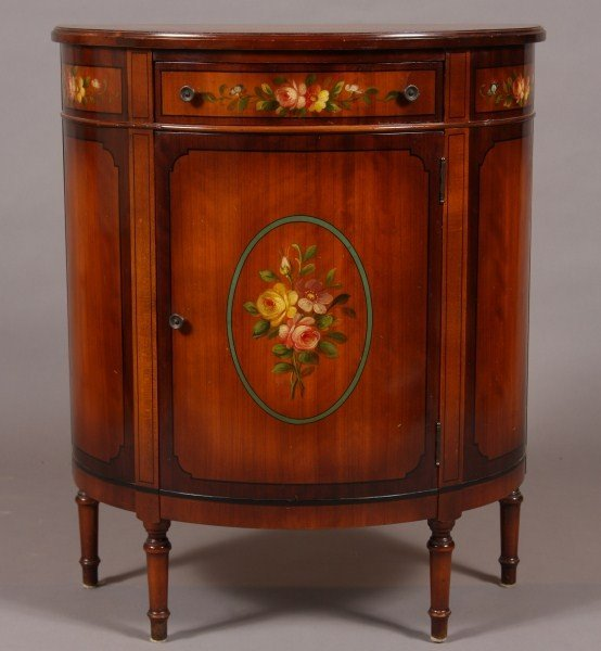 7: Sheridan Style Fruitwood & Painted Demi-Lune Cabinet