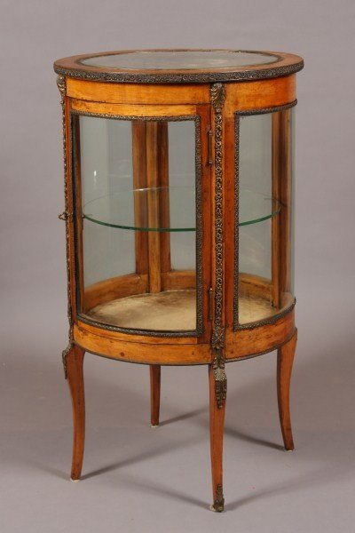 8: Louis XV Style Fruitwood Brass Mounted Circular Vitr