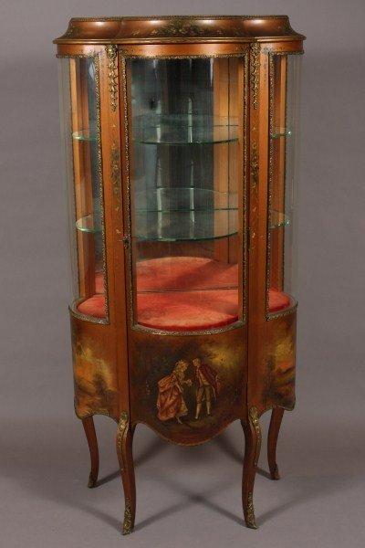 12: Louis XV Style Gilt Brass Bound & Painted Vitrine,