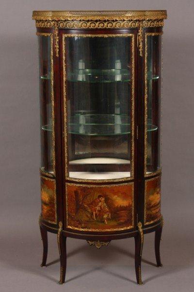 13: Louis XV Style Brass Mounted Mahogany & Painted Vit