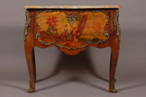 17: Louis XV Style Marble Top Brass Mounted Kingwood an