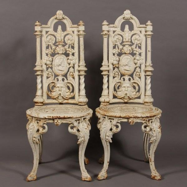 20: Pair Wrought Iron Chairs, American, 20th Century