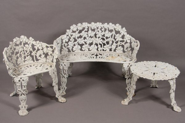 21: Suite of Wrought Iron White Painted Garden Furnitur