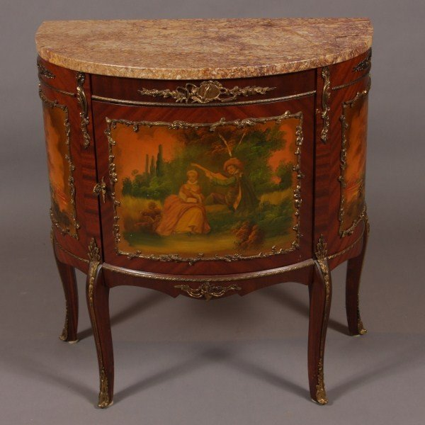 24: Louis XV Style Marble Top Brass Mounted Mahogany &  - 2